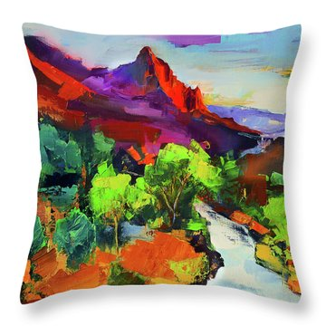 Zion - The Watchman And The Virgin River Vista Throw Pillow
