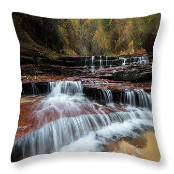 Zion Trail Waterfall Throw Pillow