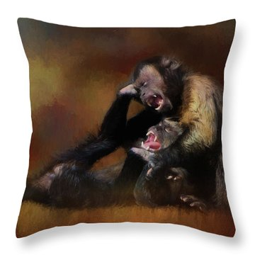 Zoo Monkey's Playing Throw Pillow