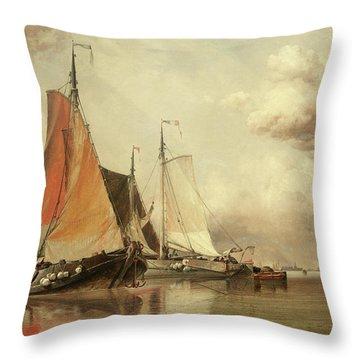 Zuyder Zee, Fishing Craft In A Calm Throw Pillow