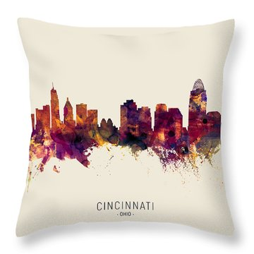 Cincinnati Skyline Throw Pillows Fine Art America