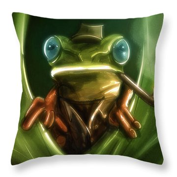Inspector Frog - Throw Pillow Product by Matthias Zegveld
