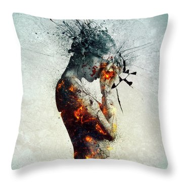 Young Woman Throw Pillows