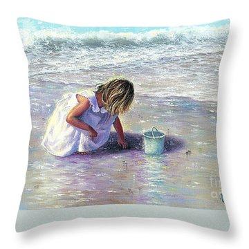 Little Girl On Beach Throw Pillows