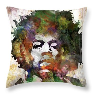 Rock And Roll Jimi Hendrix Music Throw Pillows