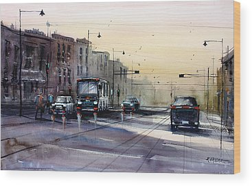City Scene Paintings Wood Prints