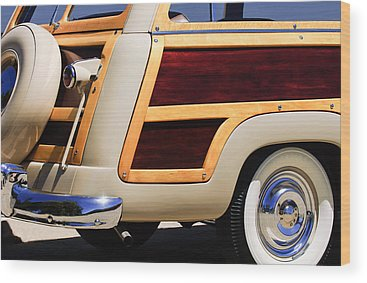 Old Woody Station Wagon Wood Prints