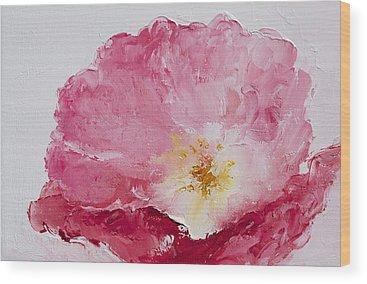 One Single Pink Poppy Flower Wood Prints