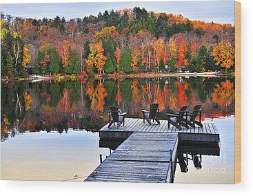 Autumn Foliage Wood Prints