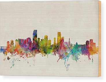Miami Skyline Wood Prints