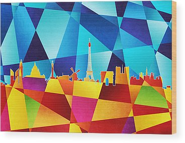 Abstract Skyline Wood Prints