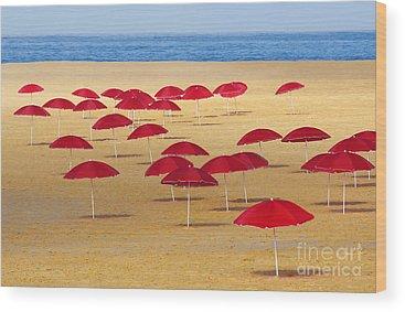 Beach Umbrella Wood Prints
