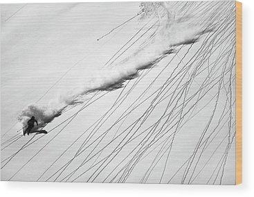 Ski Tracks Wood Prints
