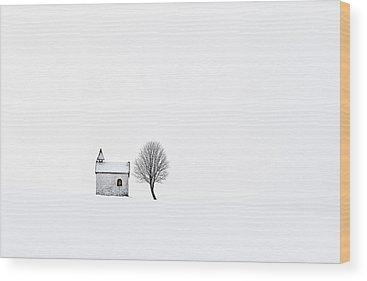 White Church Wood Prints