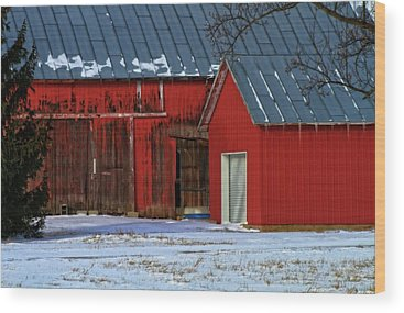 Red Barn In Winter Wood Prints
