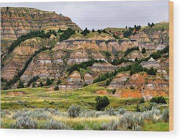 North Dakota Badlands Wood Prints