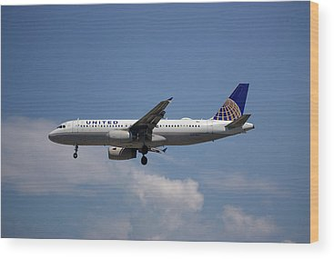 United Airlines Wood Prints