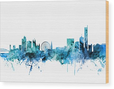 Manchester Skyline Wood Prints