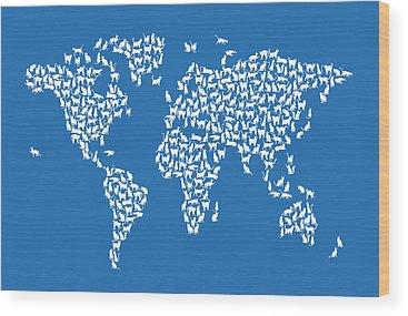 Cat Map Wood Prints