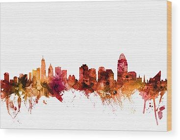 Cincinnati Skyline Wood Prints