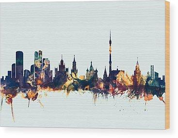 Moscow Skyline Wood Prints