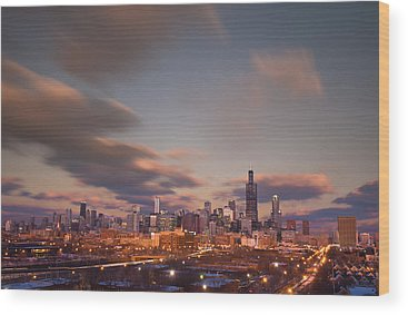 City Sunset Wood Prints