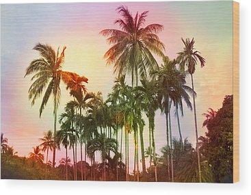 Tropical Sunset Wood Prints