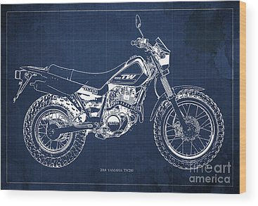 Moto Blueprint Wood Prints