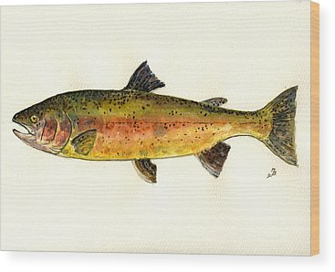 Trout Watercolor Wood Prints