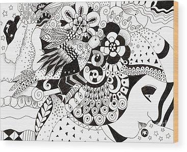 Organic Abstraction Drawings Wood Prints