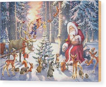 Christmas Squirrel Wood Prints