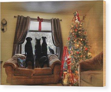Dog Christmas Cards Wood Prints