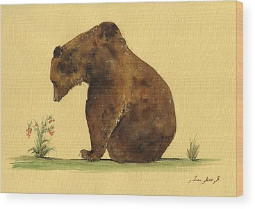 Grizzly Bear Wood Prints