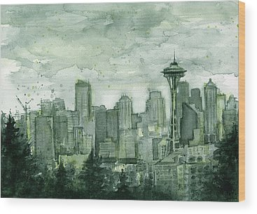 Seattle Skyline Wood Prints