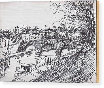 River Drawings Wood Prints