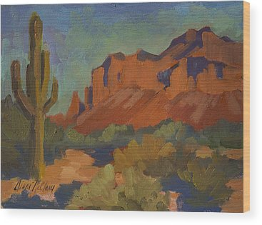 Superstition Mountains Wood Prints