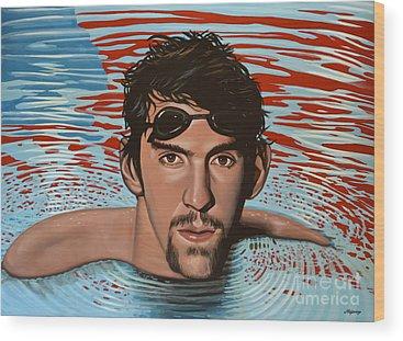 Swimmers Wood Prints