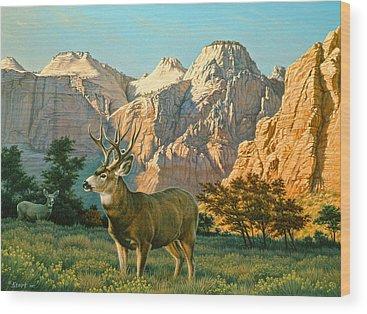 Mule Deer Wood Prints
