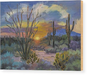 Desert Sunset Wood Prints