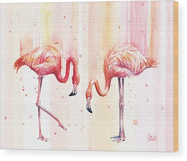 Pink Flamingo Wood Prints