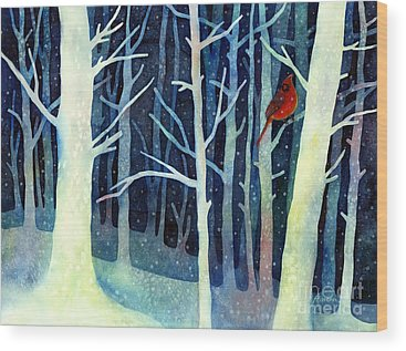 Birds In Snow Wood Prints