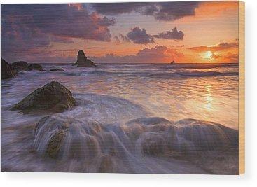 Oregon Beach Wood Prints