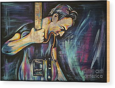 Rock And Roll Music The Boss Wood Prints