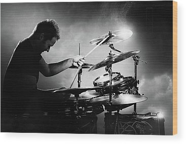 Rock And Roll Drummer Wood Prints