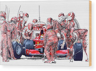Vintage Race Cars Wood Prints