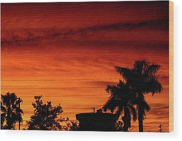 Sky On Fire Wood Prints