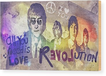 Rock N Roll George Harrison Wood Prints