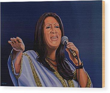 Aretha Franklin Soul Music Wood Prints
