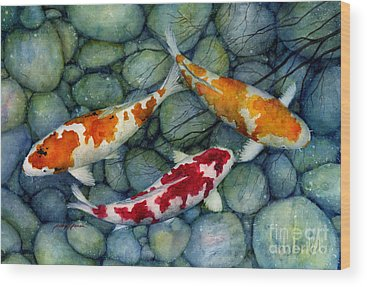 Koi Fish Pond Wood Prints