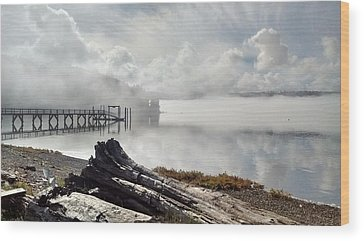 Washington Driftwood Beach Fog Wood Prints